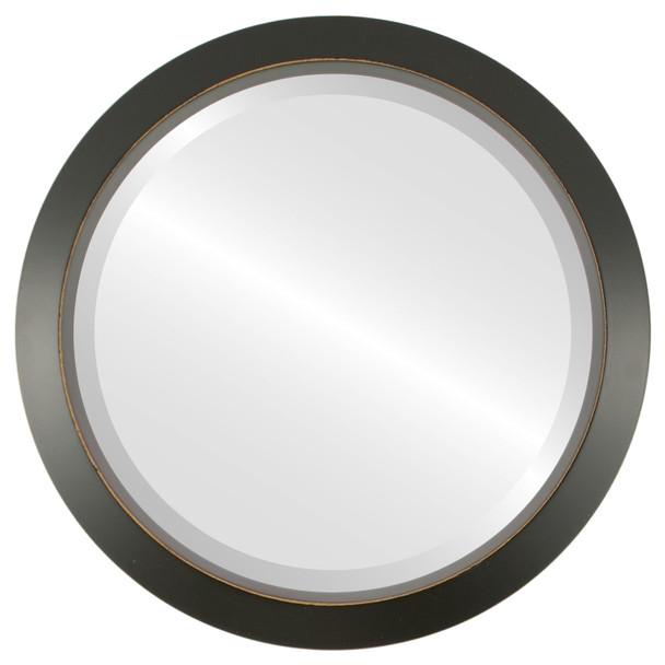 Beveled Mirror - Regatta Round Frame - Rubbed Black