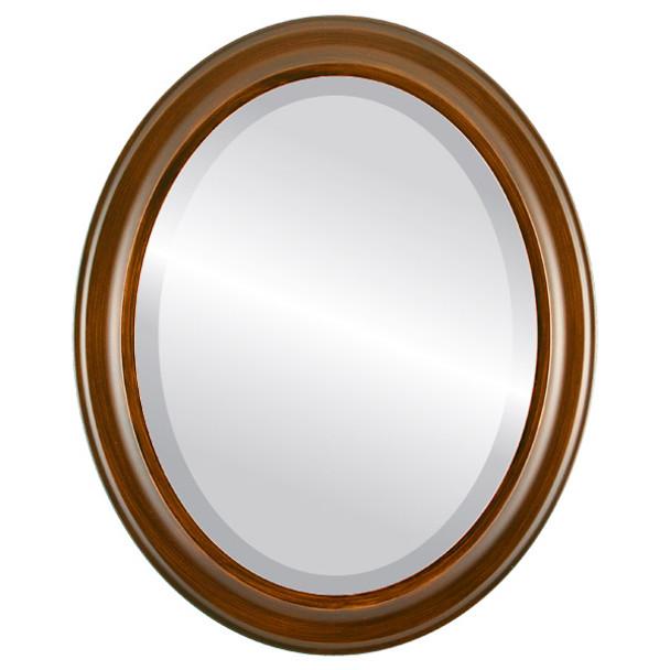 Beveled Mirror - Messina Oval Frame - Mocha