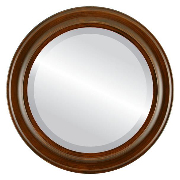 Beveled Mirror - Messina Round Frame - Mocha