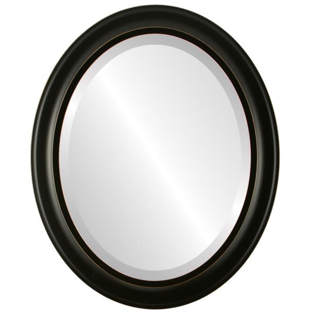 Beveled Mirror - Messina Oval Frame - Rubbed Black