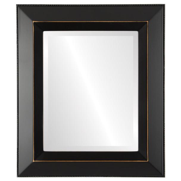 Beveled Mirror - Lombardia Rectangle Frame - Rubbed Black