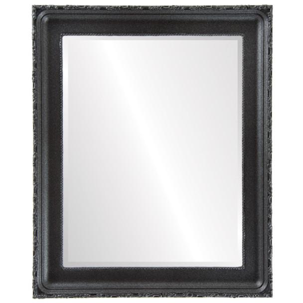 Beveled Mirror - Kensington Rectangle Frame - Black Silver