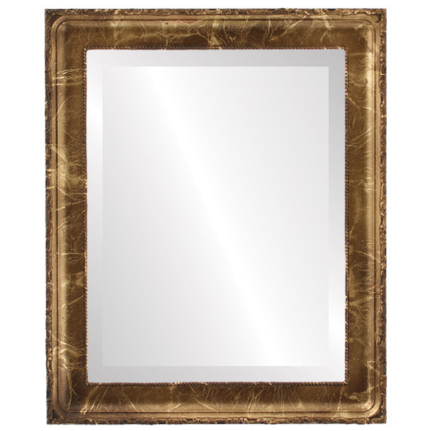 Beveled Mirror - Kensington Rectangle Frame - Champagne Gold