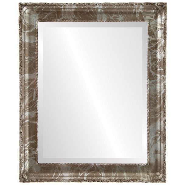 Beveled Mirror - Kensington Rectangle Frame - Champagne Silver
