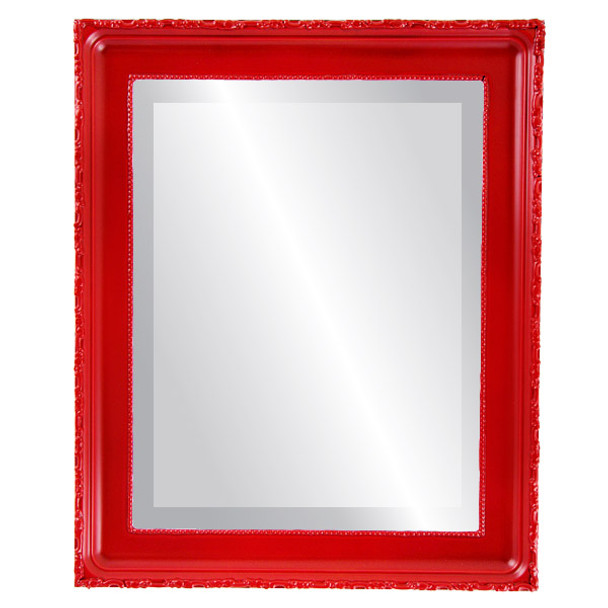 Beveled Mirror - Kensington Rectangle Frame - Holiday Red