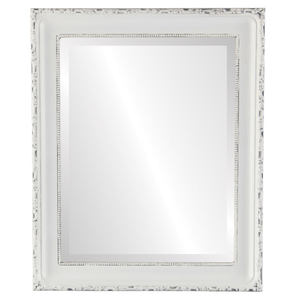 Beveled Mirror - Kensington Rectangle Frame - Linen White