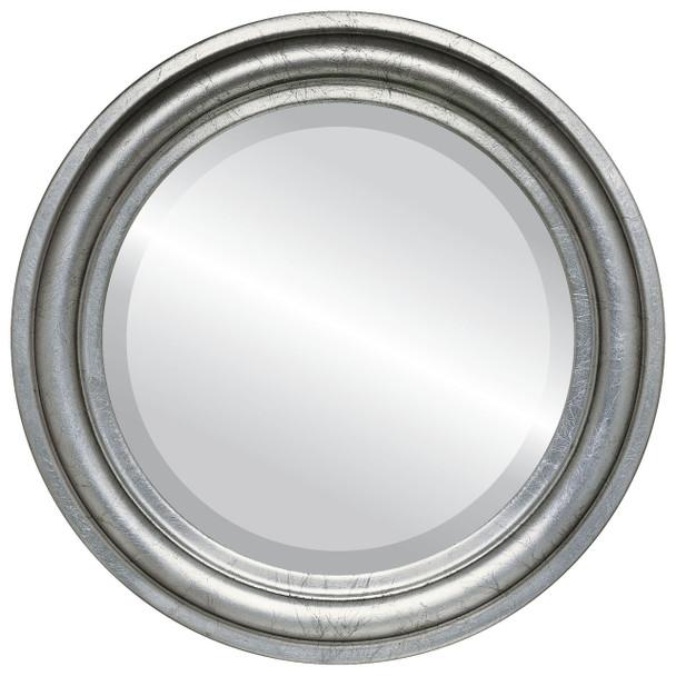 Beveled Mirror - Philadelphia Round Frame - Silver Leaf with Black Antique