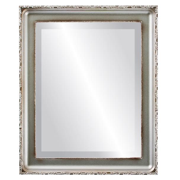 Beveled Mirror - Kensington Rectangle Frame - Silver Shade