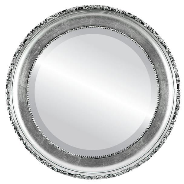 Beveled Mirror - Kensington Round Frame - Silver Leaf with Black Antique