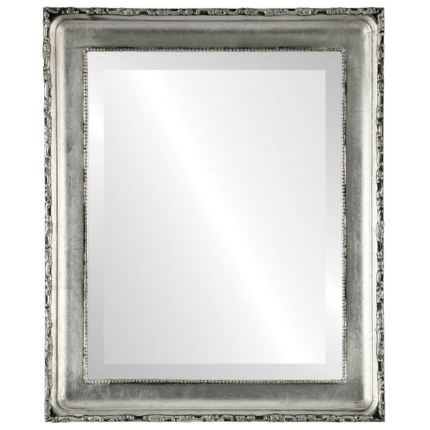 Beveled Mirror - Kensington Rectangle Frame - Silver Leaf with Black Antique