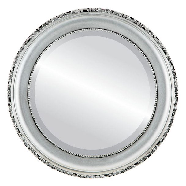 Beveled Mirror - Kensington Round Frame - Silver Spray