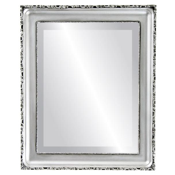 Beveled Mirror - Kensington Rectangle Frame - Silver Spray