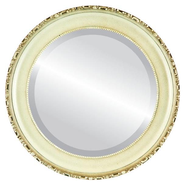 Beveled Mirror - Kensington Round Frame - Taupe
