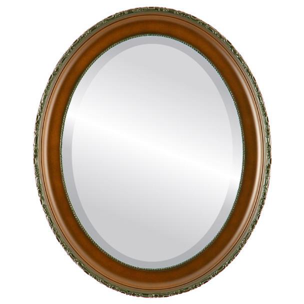 Beveled Mirror - Kensington Oval Frame - Walnut