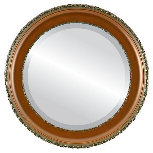 Beveled Mirror - Kensington Round Frame - Walnut