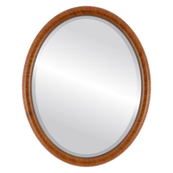 Beveled Mirror - Pasadena Oval Frame - Vintage Walnut