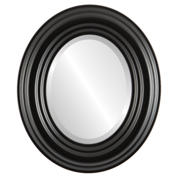 Beveled Mirror - Regalia Oval Frame - Matte Black