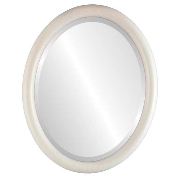 Beveled Mirror - Sydney Oval Frame - Country White