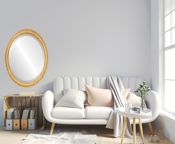 Melbourne Framed Oval Mirror - Honey Oak