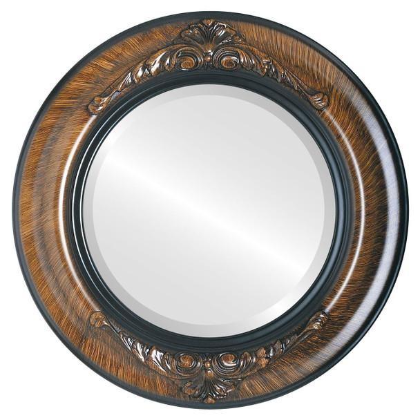 Beveled Mirror - Winchester Round Frame - Vintage Walnut