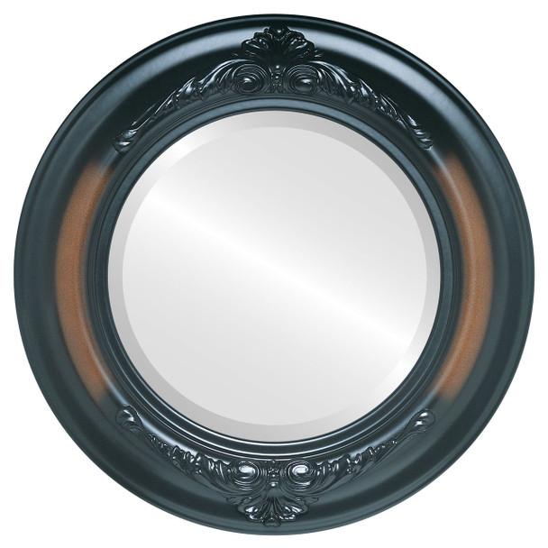 Beveled Mirror - Winchester Round Frame - Walnut