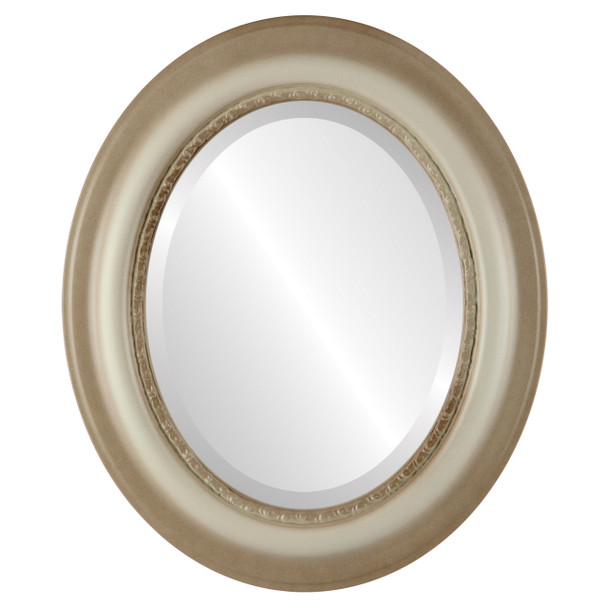 Beveled Mirror - Chicago Oval Frame - Taupe