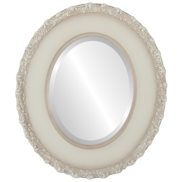 Beveled Mirror - Williamsburg Oval Frame - Taupe