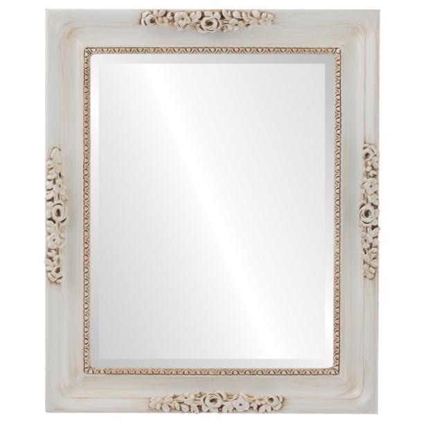 Beveled Mirror - Versailles Rectangle Frame - Antique White
