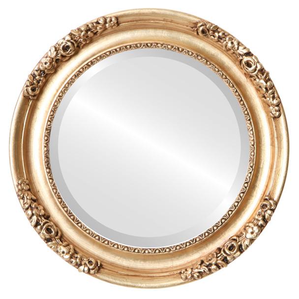 Beveled Mirror - Versailles Round Frame - Antique Gold Leaf