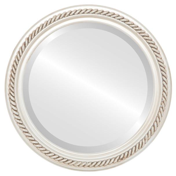 Beveled Mirror - Santa Fe Round Frame - Antique White