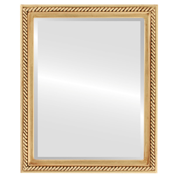 Beveled Mirror - Santa Fe Rectangle Frame - Antique Gold Leaf