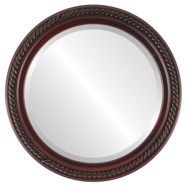 Beveled Mirror - Santa Fe Round Frame - Rosewood