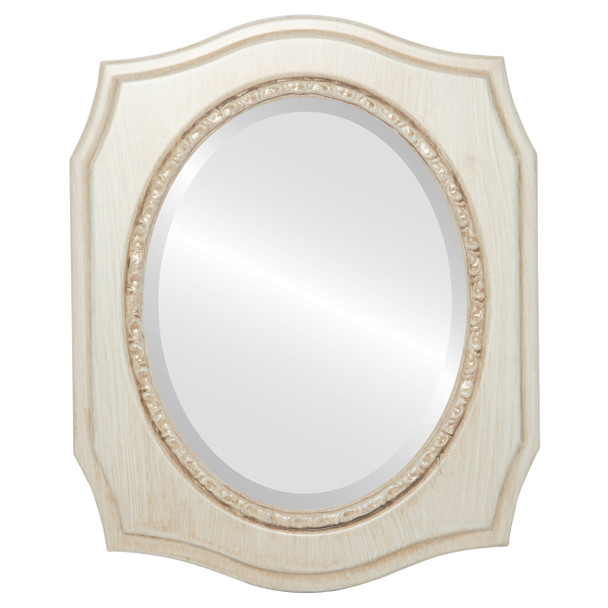 Beveled Mirror - San Francisco Oval Frame - Antique White