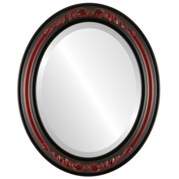 Beveled Mirror - Florence Oval Frame - Vintage Cherry