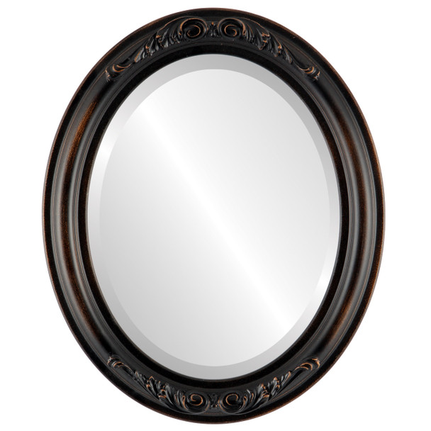 Beveled Mirror - Florence Oval Frame - Rubbed Bronze