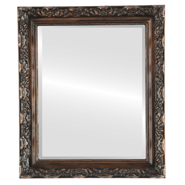 Beveled Mirror - Rome Rectangle Frame - Rubbed Bronze