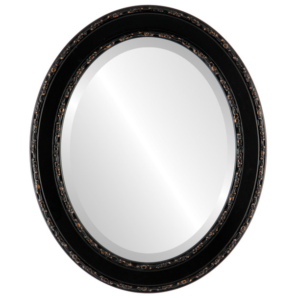 Beveled Mirror - Monticello Oval Frame - Rubbed Bronze