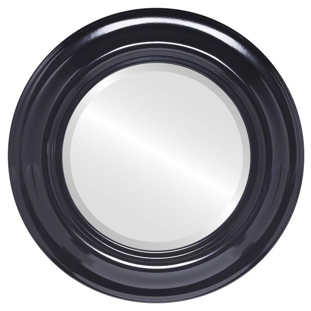Beveled Mirror - Lancaster Round Frame - Gloss Black