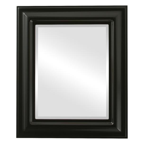 Beveled Mirror - Lancaster Rectangle Frame - Gloss Black