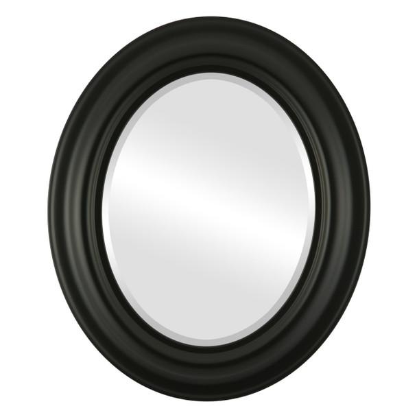 Beveled Mirror - Lancaster Oval Frame - Matte Black