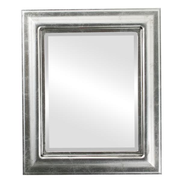 Beveled Mirror - Lancaster Rectangle Frame - Silver Leaf with Black Antique