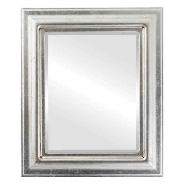 Beveled Mirror - Lancaster Rectangle Frame - Silver Leaf with Brown Antique