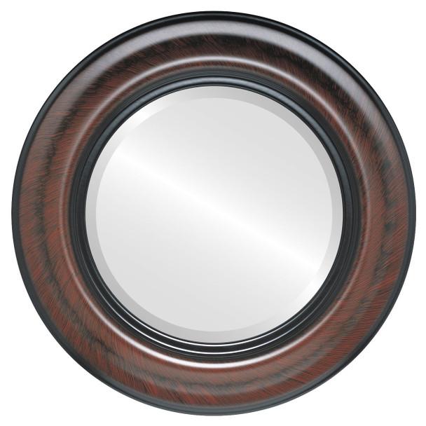 Beveled Mirror - Lancaster Round Frame - Vintage Cherry