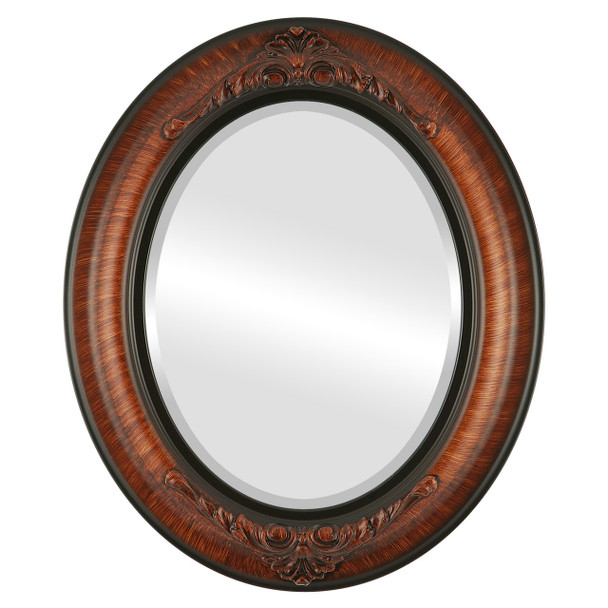 Beveled Mirror - Winchester Oval Frame - Vintage Walnut
