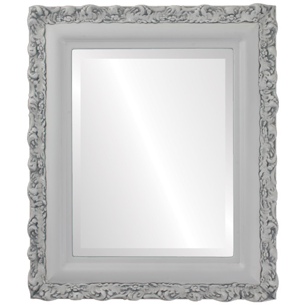 Beveled Mirror - Venice Rectangle Frame - Linen White