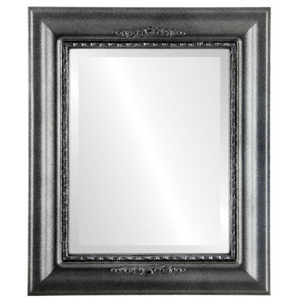 Beveled Mirror - Boston Rectangle Frame - Black Silver