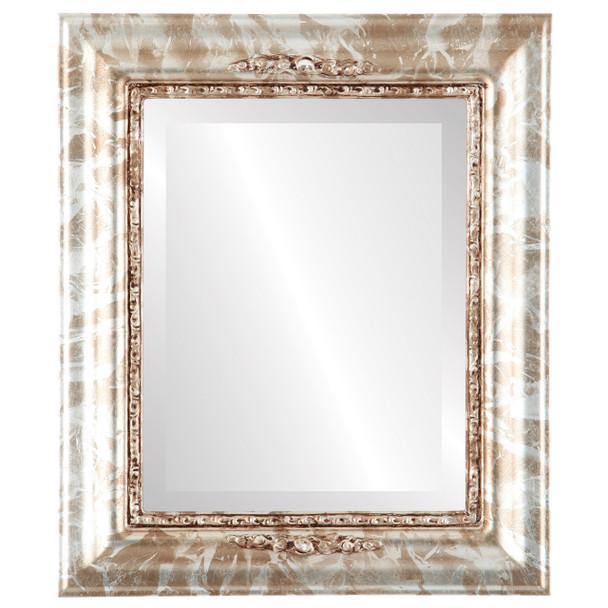 Beveled Mirror - Boston Rectangle Frame - Champagne Silver
