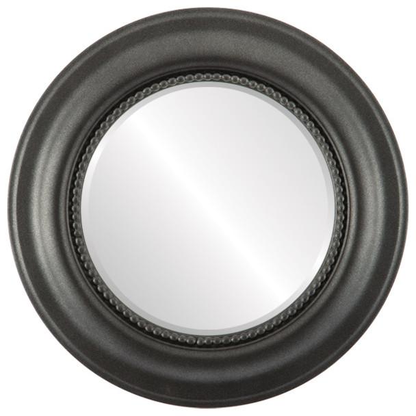 Beveled Mirror - Heritage Round Frame - Black Silver