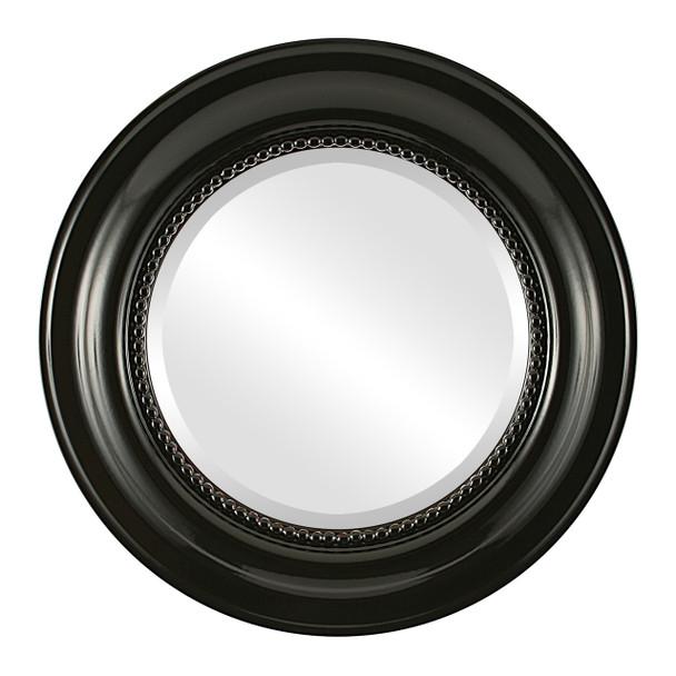 Beveled Mirror - Heritage Round Frame - Gloss Black