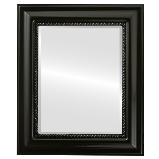 Beveled Mirror - Heritage Rectangle Frame - Gloss Black